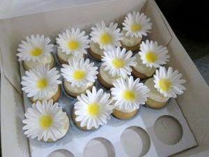 Cupcakes mit Magariten aus Blütenpaste