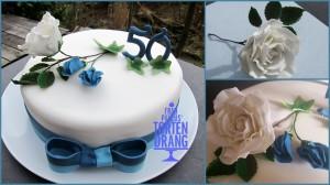 Tortendekoration blaue Wicken und Rose