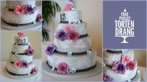 Romantische Hochzeitstorte im Vintage-Stil mit Rosen, Hortensien und Spitze