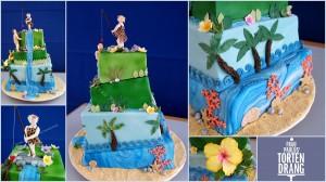 Torte Hochzeitstorte Dschungel Meer Palmen Tarzan Jane Kaiserslautern Landstuahl Pirmasens Zweibrücken Tortendekorationskurs HP