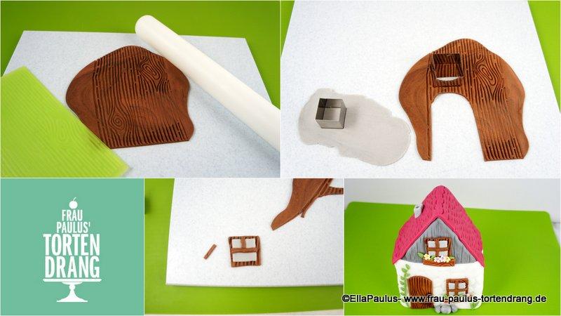 torte mit haus und p rchen auf bank mit anleitung cake tutorial house gumpaste frau paulus. Black Bedroom Furniture Sets. Home Design Ideas