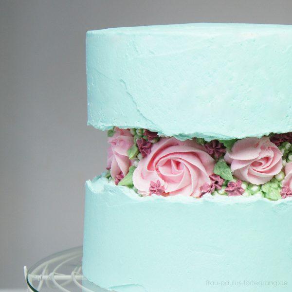 Blumen spritzen lernen Torte Buttercreme